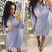 Платье-рубашка стильное в полоску с расклешенной юбкой коттон 2 цвета SML1713