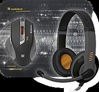 Игровой набор Defender Warhead MPH-1500 черный,мышь+гарнитура+ковер