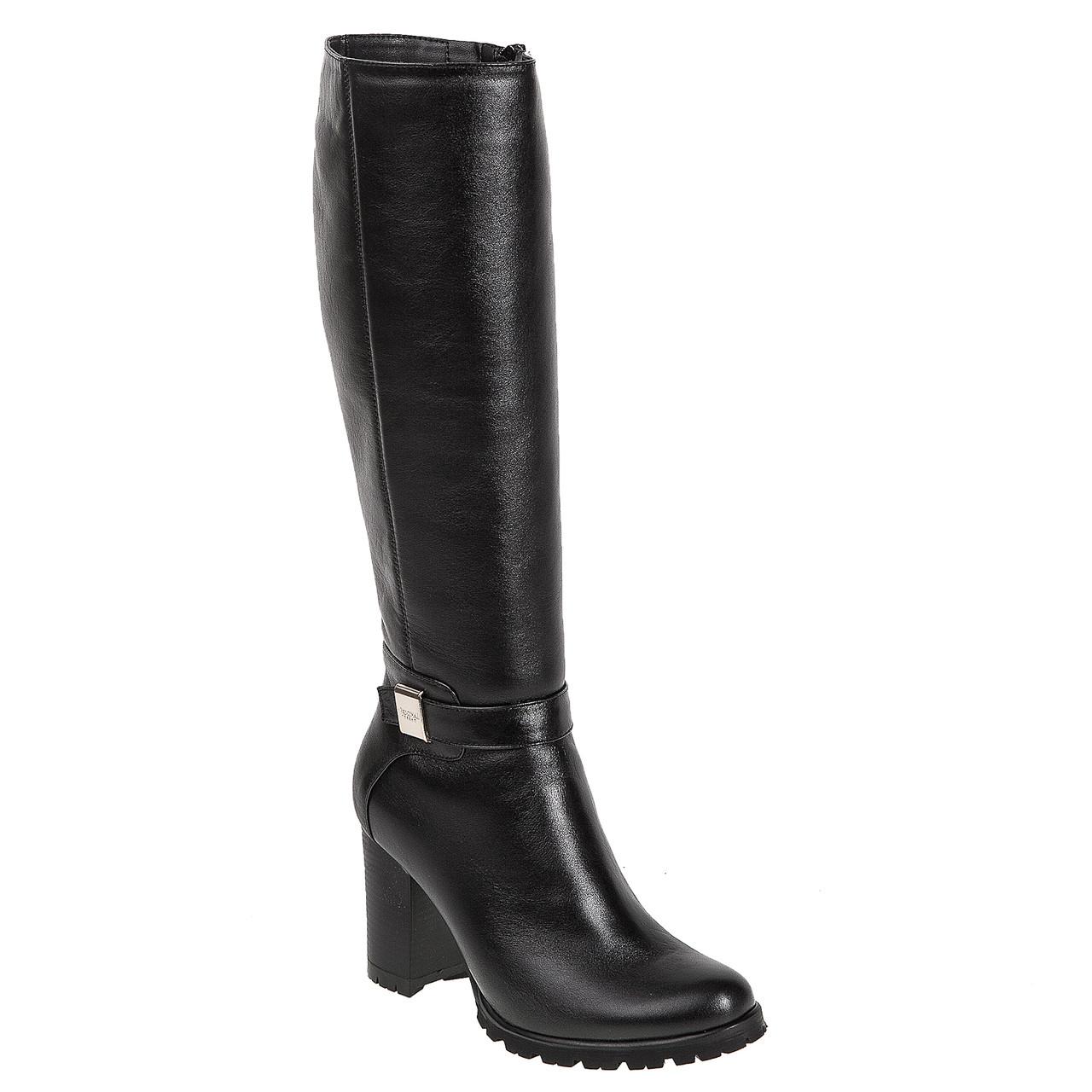 Сапоги женские Alamo (черные, кожаные, стильные, удобные, на каблуке)