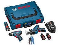 Bosch Набор 3-в-1 10.8В: GSR 10,8-2-LI + GSA 10,8 V-LI + GLI PowerLED + 8 пильных полотен для GSA (0