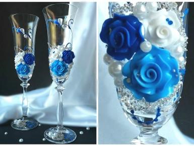Свадебные бокалы в синемм цвете  ТЛ-104