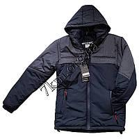 Куртка демисезонная подростковая для мальчиков 10-15 лет т.синяя +серый оптом