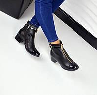 Демисезонные ботиночки STIL натуральная кожа, носочек лак, внутри байка