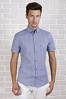 Рубашка с коротким рукавом в синюю полоску, фото 1