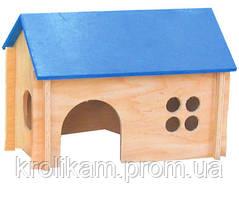 Домик для морской свинки деревяное покатая цветная крыша