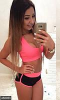 Яркий спортивный женский костюмс шортами икоротким топом микродайвинг