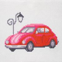 """Канва с рисунком для вышивки крестом  """"Красный автомобиль"""""""