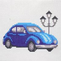 """Канва с рисунком для вышивки крестом  """"Синий автомобиль"""""""