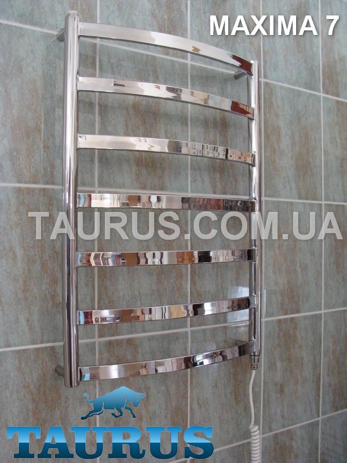 Уникальный узкий полотенцесушитель Maxima 7/750х400; Перекладина 30х10; Водяной, электроТЭН или гибридный