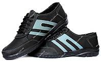 Мужские черные кроссовки с серыми полосами (СКР-2чср)