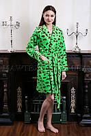 Женский махровый халат короткий Miss Leopard зеленый