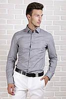Рубашка с длинным рукавом серая в полоску