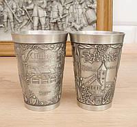 Два коллекционных оловянных бокала, олово, Германия, 150 мл