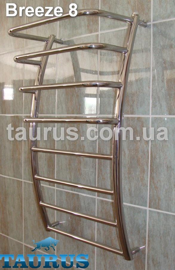 Водяной узкий фигурный полотенцесушитель Breeze 8-4. Ширина 400 мм. Н/ж сталь