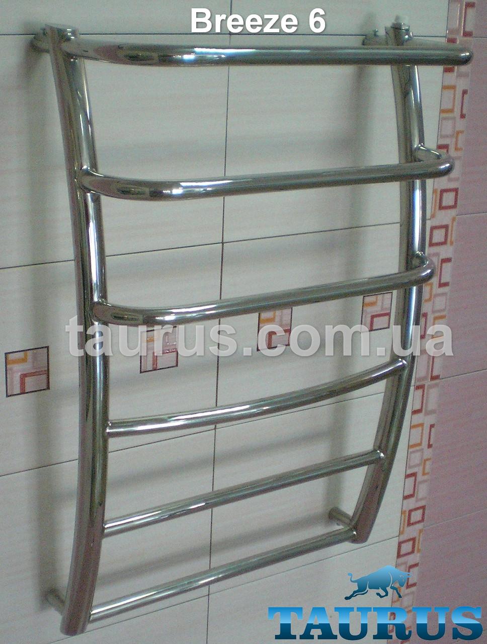 Нержавеющий водяной полотенцесушитель лесенка: Breeze 6-2 / Ширина 500 мм. Высота: 650мм с полочкой