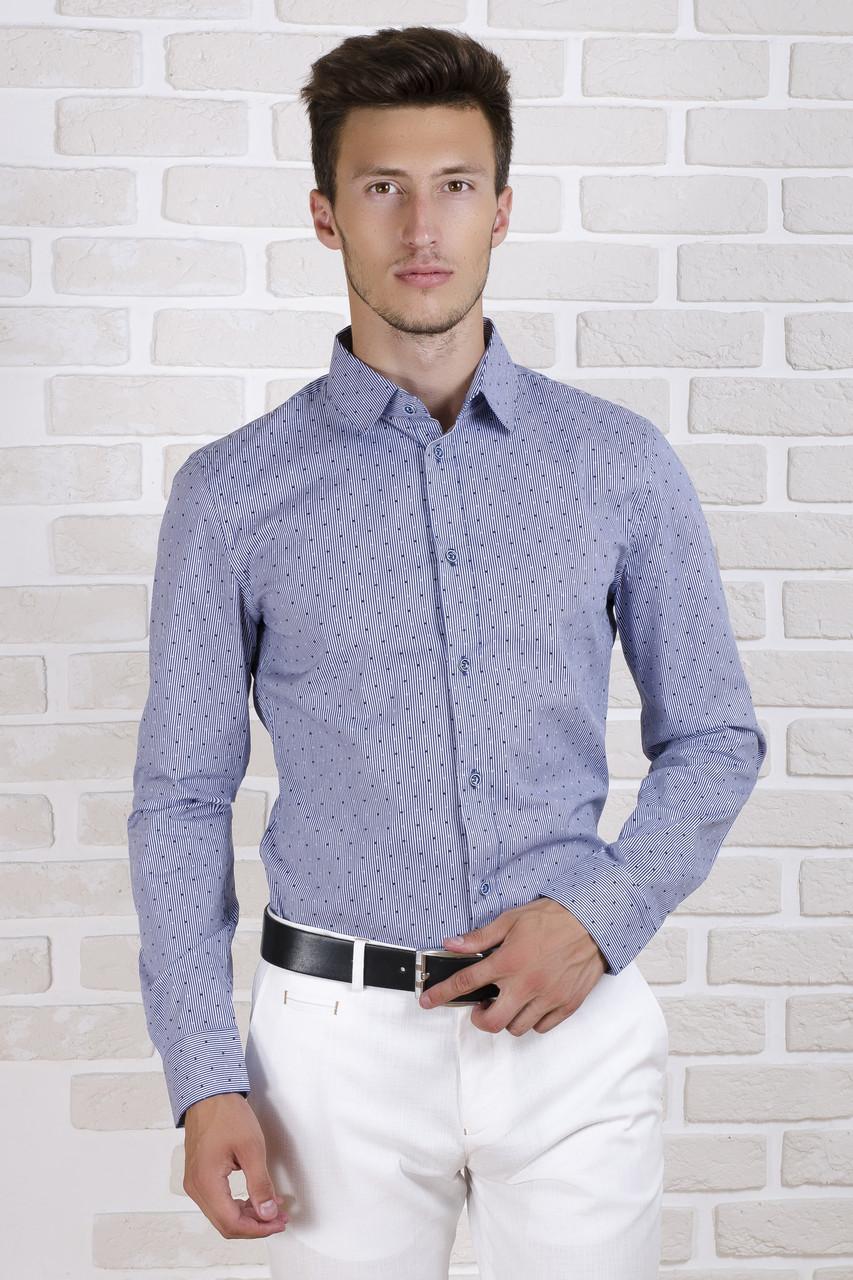 Рубашка с длинным рукавом в синюю полоску