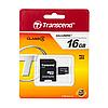 Карта пам'яті micro SD (SDHC) Transcend 16Gb (class 4) + адаптер