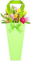 Бумажная сумка для букетов и горшечных цветов салатовая