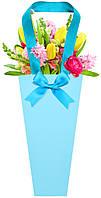 Бумажная сумка для букетов и горшечных цветов светло-синяя