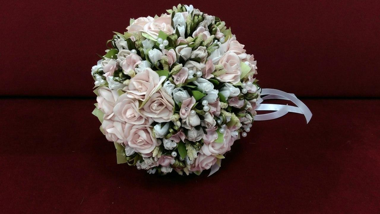 Свадебный букет-дублер пудровый