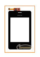 Сенсор (тачскрин) Nokia Asha 502 Dual Sim Black с рамкой Original