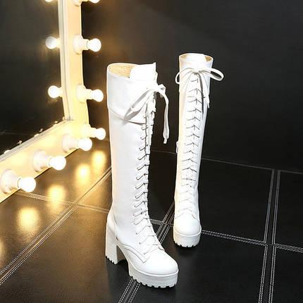 Сапоги женские демисезонные шнуровка, фото 2