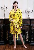 Женский махровый халат короткий Miss Leopard желтый