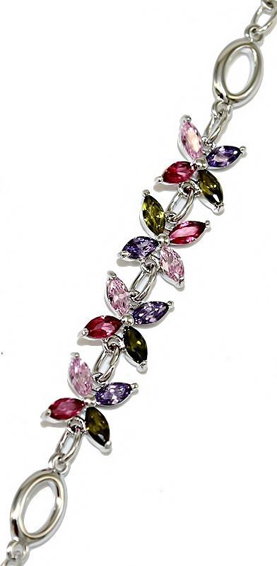 Браслет женский ХР. Цвет: серебряный. Камни: циркон разных цветов. Длина 18-22 см.Ширина 8 мм