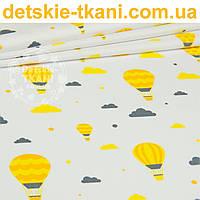 """Бязь польская """"Воздушные шары с облаками"""" желто-оранжевого цвета № 888"""