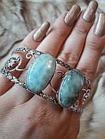 Браслет с ларимаром. Браслет-манжет с натуральным камнем ларимар (доминикана) в серебре., фото 1