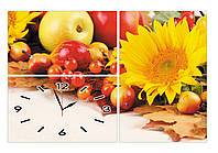 """Модульные  настенные часы картина """"Овощи, цветы, фрукты"""" кухонные из трех частей триптих большие-90х60см"""