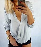 """Легкая женская блуза-рубашка """"Азалия"""" с декольте и длинным рукавом (3 цвета)"""