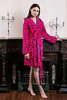 Женский махровый халат короткий Miss Leopard малиновый (бесплатная доставка+подарок)