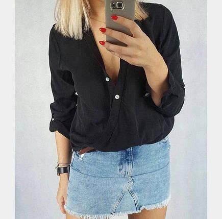 """Легкая женская блуза-рубашка """"Азалия"""" с декольте и длинным рукавом (3 цвета), фото 2"""