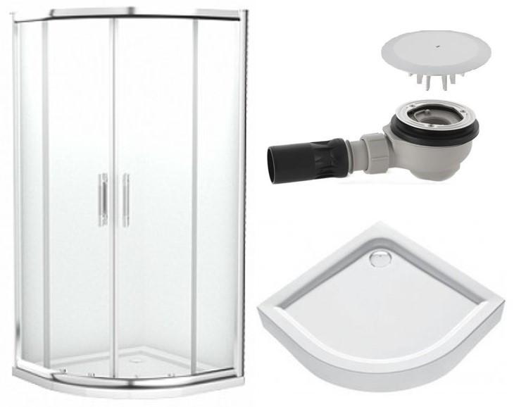 GEO 6 кабина полукруглая 90 см стекло PRISMATIC+FIRST поддон полукруглый 90см+сифон Geberit