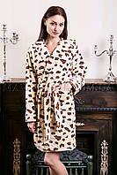 Женский махровый халат короткий Miss Leopard бежевый (бесплатная доставка+подарок)