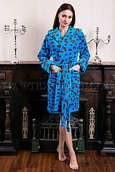 Женский махровый халат короткий Miss Leopard синий
