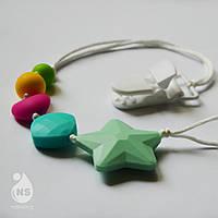 Силиконовый держатель для пустышки или игрушки - Мятная звезда