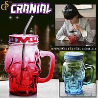 """Скляний кухоль, кружка - """"Cranial"""" з трубочкою, фото 1"""