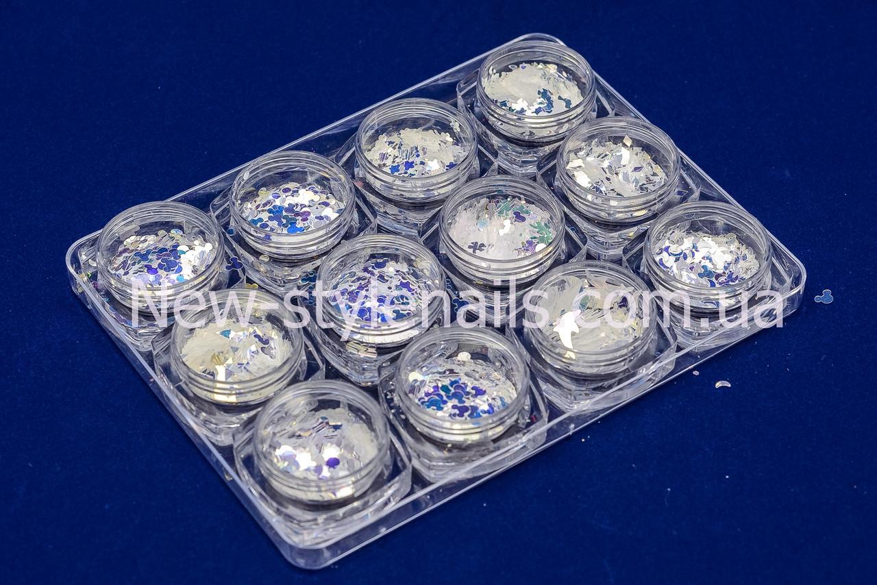 Набор декора для дизайна ногтей MIX, 12 шт в пластиковом контейнере