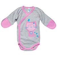 Боди для новорожденных девочки розовый серый арт. 16708