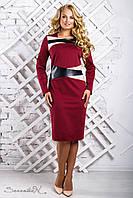 Женское трикотажное платье со вставками из эко-кожи, цвет марсала, размер 50, 52, 54, 56