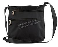 Удобная вместительная наплечная мужская сумка с очень прочного материала почтальонка  art. 3664 черная