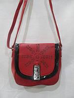 Маленькая бардовая женская сумока  с лаковой вставкой  через плечо