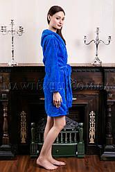 Женский махровый халат короткий MISS синий
