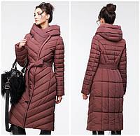 Стеганое длинное пальто приталенного кроя Фелиция-Кофейный, р 48,50,54,60