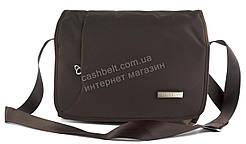 Удобная вместительная наплечная мужская сумка с очень прочного материала art. 13505 коричневая