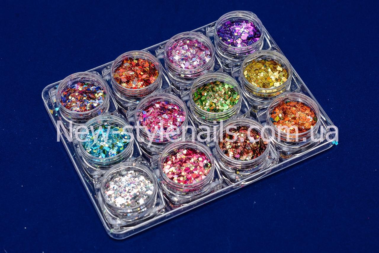 Набор для дизайна ногтей ромбики и конфети