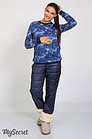 Очень теплые брюки для беременных Shia, из теплого трикотажа с начесом и стеганой плащевки, синие, фото 1