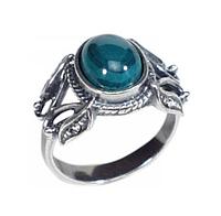 """Кольцо """"Матрена"""" с малахитом, покрытое серебром (b27630m0)"""